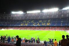 阵营empy nou的体育场,夜间,巴塞罗那足球俱乐部,西班牙,欧洲 免版税库存图片