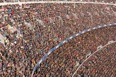 阵营Nou体育场的全视图足球比赛的在Futbol俱乐部巴塞罗那和马拉加之间 免版税库存照片