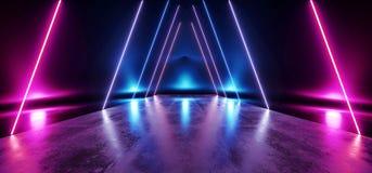 阶段三角未来派蓝色紫色霓虹焕发科学幻想小说充满活力的黑暗的陈列室指挥台虚拟现实空的反射难看的东西 皇族释放例证