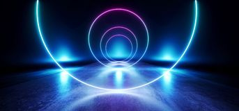 阶段圈子未来派蓝色紫色霓虹焕发科学幻想小说充满活力的黑暗的陈列室指挥台虚拟现实空的反射难看的东西 库存例证