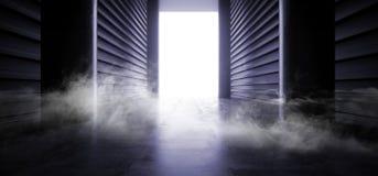 阶段未来派科学幻想小说抽霓虹充满活力激光太空飞船未来黑暗的走廊发光的紫色蓝色具体难看的东西的走廊 皇族释放例证