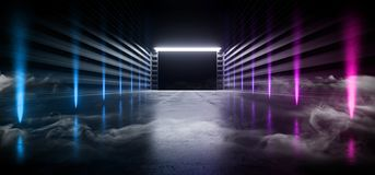 阶段未来派科学幻想小说抽霓虹充满活力激光太空飞船未来黑暗的走廊发光的蓝色紫色红色具体难看的东西的走廊 向量例证