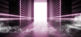 阶段未来派科学幻想小说抽霓虹激光太空飞船未来黑暗的走廊发光的桃红色具体难看的东西走廊充满活力萤光 库存例证