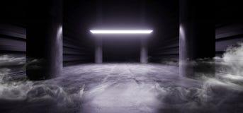 阶段未来派科学幻想小说抽霓虹激光太空飞船未来黑暗的走廊发光的蓝色具体难看的东西走廊充满活力萤光 皇族释放例证