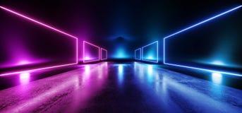 阶段未来派蓝色紫色霓虹焕发科学幻想小说充满活力的黑暗的陈列室指挥台虚拟现实空的反射难看的东西具体激光 皇族释放例证