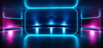 阶段未来派蓝色紫色霓虹焕发科学幻想小说充满活力的黑暗的陈列室指挥台虚拟现实空的反射难看的东西具体激光 向量例证