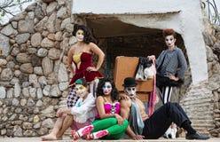 阶段的Cirque执行者 免版税库存图片