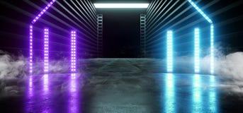 阶段荧光的科学幻想小说抽霓虹充满活力激光太空飞船未来黑暗的走廊发光的蓝色紫色红色具体难看的东西的走廊 皇族释放例证