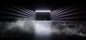 阶段荧光的科学幻想小说抽霓虹激光太空飞船未来黑暗的走廊发光的蓝色具体难看的东西走廊充满活力萤光 皇族释放例证