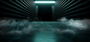 阶段荧光的科学幻想小说抽霓虹激光太空飞船未来黑暗的走廊发光的蓝色具体难看的东西走廊充满活力萤光 向量例证
