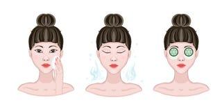 阶段,洗涤的方法,润湿皮肤 亚裔美丽的妇女抹面孔与化装棉 库存例证