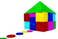 阻拦五颜六色的房子 免版税库存照片