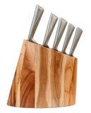 阻拦厨刀集合木 免版税库存图片