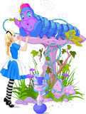 阿丽斯和蓝色毛虫 免版税库存照片