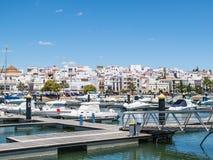 阿亚蒙特小游艇船坞,港口,安达卢西亚,西班牙 免版税库存图片