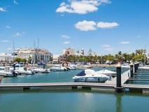 阿亚蒙特小游艇船坞,港口,安达卢西亚,西班牙 免版税图库摄影