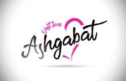 阿什伽巴特我爱与手写的字体和桃红色心形的词文本 库存图片