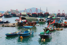 阿伯丁渔船,香港 免版税库存照片