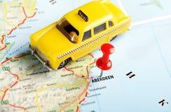 阿伯丁苏格兰;大英国地图出租汽车 库存照片
