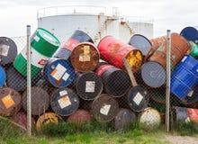 阿克拉内斯,冰岛- 2016年8月1日:油桶或化工鼓 图库摄影