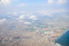 阿克拉,加纳鸟瞰图  免版税库存照片