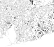 阿克拉,卫星看法,城市,加纳地图  街道 闹事 皇族释放例证