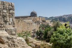 阿克萨清真寺在耶路撒冷,以色列耶路撒冷旧城  免版税库存照片