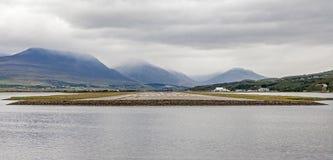 阿克雷里冰岛全景风景 免版税图库摄影
