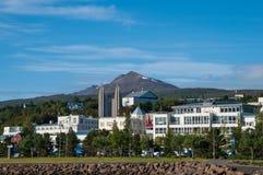 阿克雷里的市中心在冰岛 库存图片