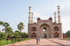 阿克巴尔坟茔伟大在阿格拉,北方邦,印度 免版税库存照片