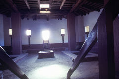 阿兹台克印地安废墟的内部,拉普拉塔, NM 库存图片