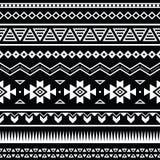 阿兹台克无缝的样式,部族黑白背景 免版税库存照片