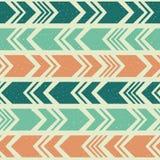阿兹台克种族无缝的样式,部族蓝色,橙色和绿色背景 免版税图库摄影