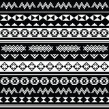 阿兹台克部族无缝的黑白样式 图库摄影