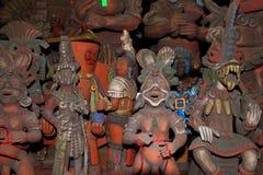 阿兹台克黏土小雕象玛雅墨西哥雕象 图库摄影