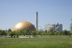 阿切尔Daniels内陆的同时发热发电能源厂在克林顿,衣阿华 免版税库存照片