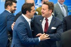 阿列克西斯・齐普拉斯、希腊的总理和泽维尔Bettel,卢森堡的总理 库存照片