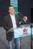 阿列克西斯・齐普拉斯是希腊左派政客, SYRI的头 库存图片