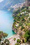 阿列恩佐海滩和波西塔诺,阿马尔菲海岸,意大利看法  库存图片