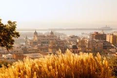 阿利坎特都市风景地平线在地中海 图库摄影