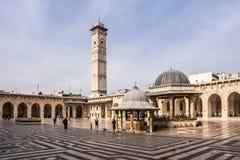 阿勒颇,叙利亚, Umayyad叙利亚内战清真寺不久之前开始  免版税图库摄影