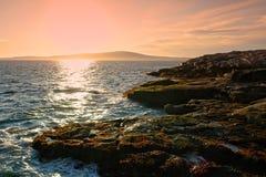 阿卡迪亚海岸缅因国家公园岩石岸 库存图片