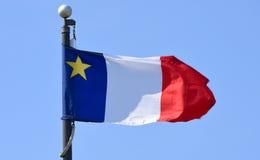 阿卡迪亚,新斯科舍,加拿大旗子  免版税库存照片