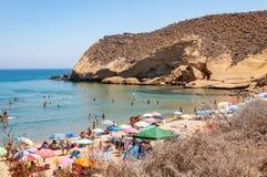 阿吉拉斯,四个小海湾的被保护的海岸公园,在穆尔西亚陆间海,旅游目的地在西班牙 库存照片