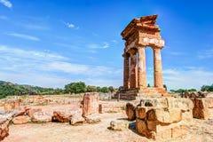 阿哥里根托,西西里岛 铸工北河三寺庙 免版税库存照片