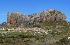 阿圭罗村庄,阿拉贡,西班牙 免版税库存图片