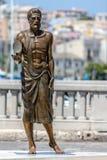 阿基米德古铜色雕象  免版税图库摄影