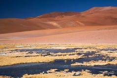 阿塔卡马沙漠冻结的盐水湖 图库摄影
