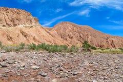 阿塔卡马沙漠干旱的山风景 免版税图库摄影