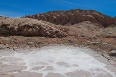 阿塔卡马沙漠干旱的盐谷 库存照片
